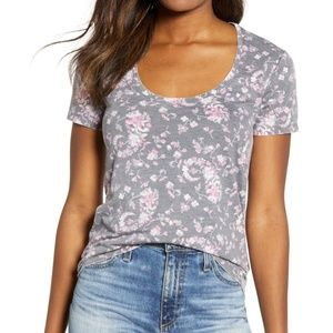 Lucky Brand Gray Floral Burnout Tee